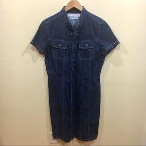 •Tommy Hilfiger• Vintage snap button shirt dress
